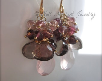 Gemstone Dangle Earrings, Rose Quartz Smoky Quartz and Pink Tourmaline Wire Wrapped Gemstone Cluster Earrings in 14K Gold Fill