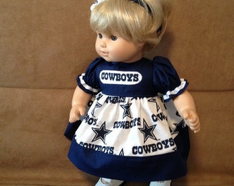 15 inch doll (modeled by Bitty Baby) Dallas Cowboy dress and headband
