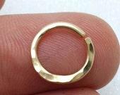 Septum ring - 16g sterling silver, Rose gold septum, Yellow gold septum. nose ring - septum hoop - hammered - cartilage hoop