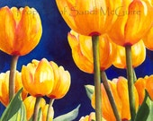 "Watercolor Print ""Yellow Tulips"" by Sandi McGuire"