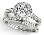 1ct  6.5mm  Forever Brilliant Moissanite Solid 14K White Gold  Halo  Engagement  Ring Set  - OV95156