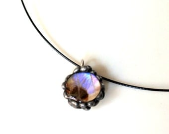 Lavender Butterfly Bubble Pendant, Real Butterfly Jewelry, Real Butterfly Jewelry