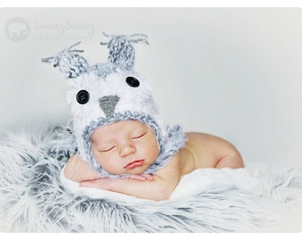 Snowy Owl hat Newborn only perfect for photo prop girl or boy FREE SHIPPING