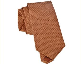 Striped linen neck ties. Standard or skinny brown, black or blue