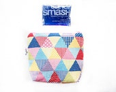 Insulated Snack Sleeve / Lunch Bag / Baby Bottle Case with Waterproof Lining - Triangles (Multi Color)