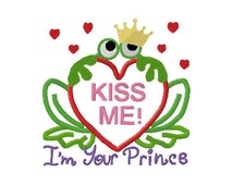 frog with crown holding heart with kiss me on it I'm your prince at bottom applique design instant download