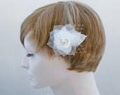 Pure Silk Bridal Fascinator Wedding  Hair fascinator Bridal Hairpiece Rose Flower Wedding Hair Piece Bride Fascinator Bridal Hairpiece