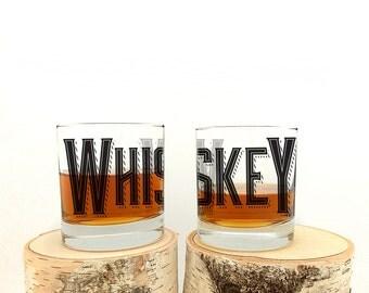 Vintage Whiskey Typography - Set of Two 11oz. Rock Glasses