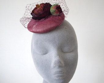 Purple Flower Fascinator- Damson Peony