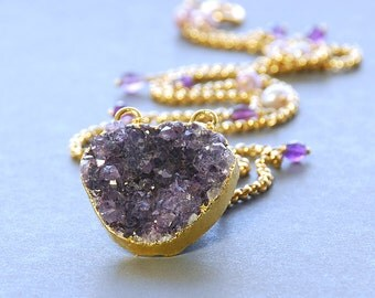 SALE 25% OFF Purple Druzy Necklace.  Drusy, Pearl, Amethyst Gold Filled Necklace. Purple Gemstone Necklace