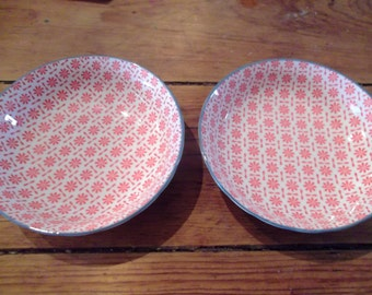 PORCELAIN DIPPING BOWLS,coral pink, blue trim, French Provincial, cottage chic, serving
