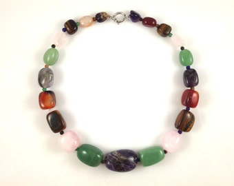 Mixed Gemstone Necklace - Tigereye, Rose Quartz, Amethyst, Green Aventurine, Mixed Quartz Natural Gemstone Single Strand Necklace