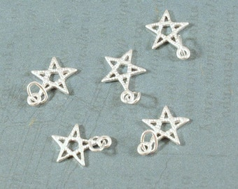Sterling Silver Star - Pentagram - Outline Charm - 10mm - Sold Per Piece - CR5ST1