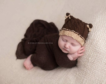 Knit Cabled Bear Hat Knitting Pattern -All Baby Sizes (Including Preemie and Newborn) through 1-3 Year Included - Instant Digital Download