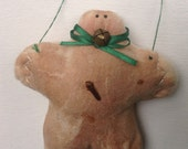 Primitive Gingerbread Man Fabric Christmas Ornament