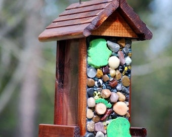 Mosaic Bird Feeder Cedar and  Stones with Greens and Cute bugs