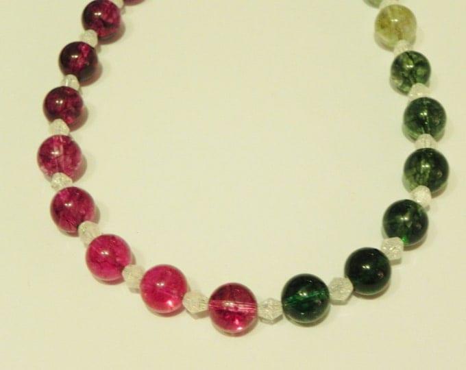 Rainbow coloured quartz & white crackled quartz gemstone necklace, handmade, pink, red, yellow, green, white