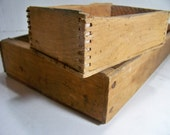 Vintage Wood  Box Country Wood Box Shabby Tray Garden Art Box Natural Wood Boxes