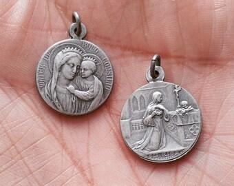 Our Lady of Good Counsel & Saint Rita - San - Santo - Medal - Pendant -  Alpacca - Alpaca