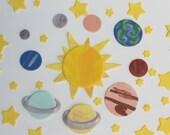 Fondant cake topper set--9 planets, 1 sun, 36 stars