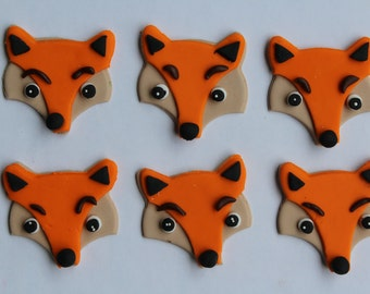 12 fondant cupcake toppers--fox, foxes