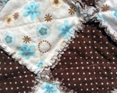 Blue and Brown Baby Girl Rag Quilt