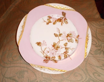 H & C Limoge Pink and Gold Floral China Plate Cottage Chic  Victorian