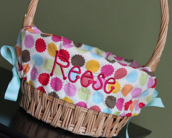 Personalized Easter Basket Liner Flower Dot Personalized