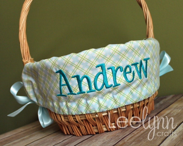 Personalized Easter Basket Liner Blue And By Stitchedstamped