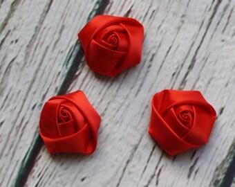 "1.5"" Satin Rolled Rosette Flower- Red Satin Flower- Rosette Flower- Satin Flower- RED Flower-Flower Supplies- Headband Supplies"
