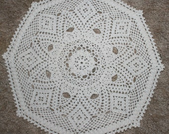 Handmade Detailed Crochet Doily White-Home Table Top Decor -Placemat-Table Cover-14 Inch-All Occasion Doily-Round Doily-Table Centerpiece