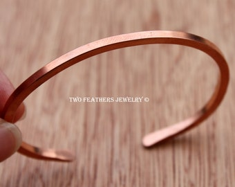 Square Wire Copper Cuff Bracelet - Solid Copper Bracelet - Stacking Bracelet - Minimalist - 7th Anniversary - Copper Bangle - Two Feathers