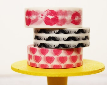 Valentine's Day Washi Tape Set Pink Lips / Mustaches / Pink Hearts Valentine Moustache and Lips