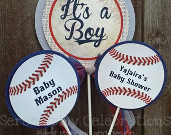 Personalized 3 Piece Centerpiece -Vintage Baseball -Birthday -Baby Shower -Table Decoration -Candy Dessert Table -Sports Baseball Photo Prop