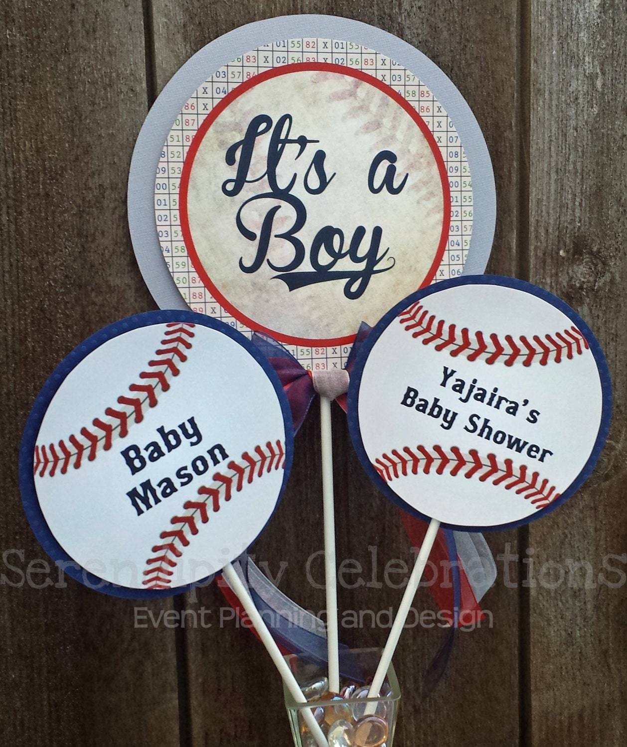 Personalized 3 Piece Centerpiece Vintage Baseball Birthday