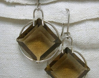 Soviet Earrings, Silver Plated, Smoky Quartz, Modernist Style, Statement