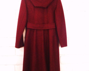 70s HOODED WOOL COAT vintage double breasted burgundy S