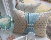 Reversible Designer Lumbar Pillow - Duck Egg Blue and Beige Elegant Sash Diamond and Striped Design Pillow - Bedroom Decor - Insert Included