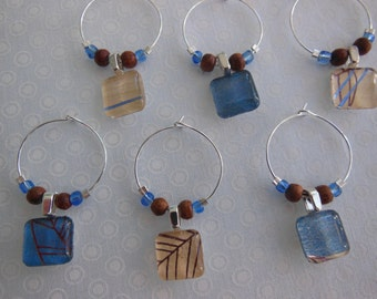 Wood and Water Wine Charms - Blue and Brown - Set of Six - Glass Wine Charms - Hostess Gift - House Warming Gift - Entertaining