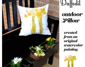 Outdoor Pillow Cover, Daffodils, welcome Spring
