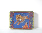 French Vintage metal box tin Advertising Tin Vintage Industrial Home Decor Kitchen,storage candy box circus lion with lion trainer