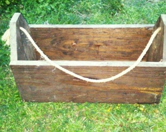 Vintage Deep Wooden Tool box With Rope Handles