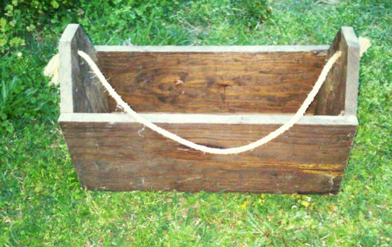 Wood Boxes With Rope Handles ~ Vintage deep wooden tool box with rope handles by folklura