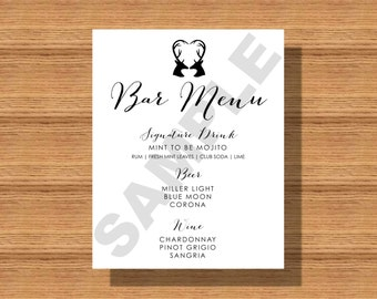 Wedding Bar Menu, Rustic Wedding, Heart Antlers Bar Menu