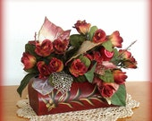 Decorated Box Table Decor Centerpiece Floral Arrangement Rectangular Box Red Rosebuds Hand Painted Open Lid  Gold Accents Gift