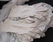 "Beautiful Ivory Ladies Soft Nylon Wrist Gloves 11"" Inch Long"