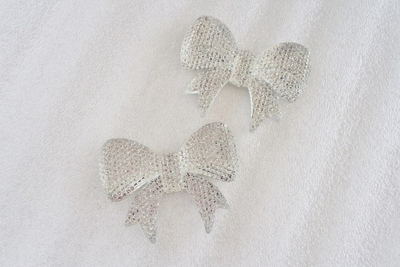 2pcs - Large Clear Faceted Rhinestone Bow Decoden Cabochon (53x40mm) BL10005