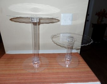 Set of2 (2) layer acrylic scalloped edge cupcake stand centerpiece lifter varying heights sweet candy table