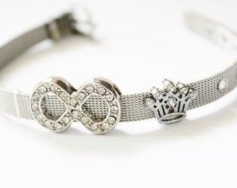 Stainless steel bracelet, Charm bracelet, personalized gift, custom jewelry, silver bracelet, love charm, heart charm, wrist band bracelet