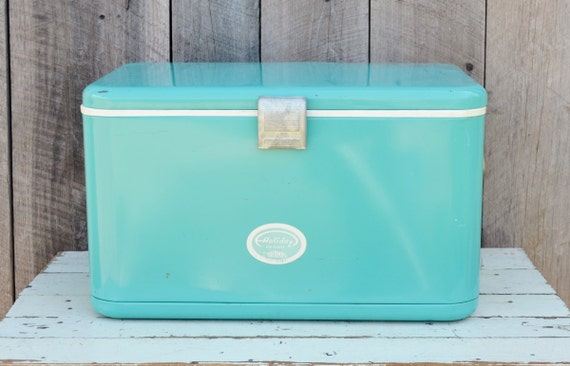 Vintage Turquoise Thermos Holiday Ice Chest Metal Cooler